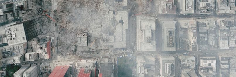 An aerial view of Ground Zero and the toxic dust cloud