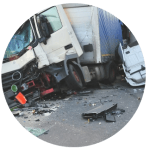 A wrecked work truck after a multi-vehicle accident
