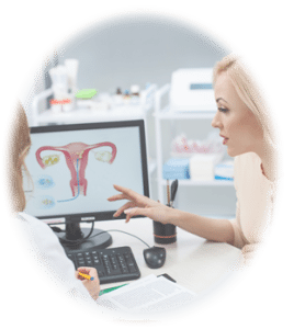 A doctor shows on a diagram how Essure works in the female reproductive system