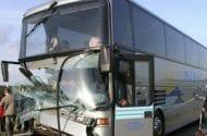 Charter Bus Hits Overpass Injuring Dozens