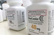 Bottles of OxyContin made by Purdue Pharma, one of the drug companies being sued in opioid cases